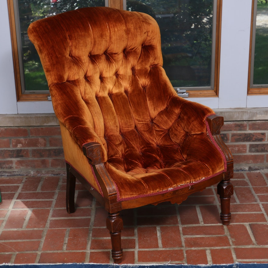 Edwardian Carved Wood and Velvet Tufted Lounge Chair