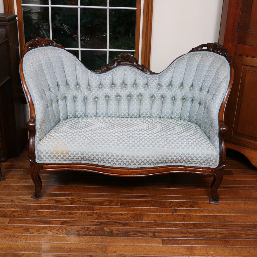 Victorian Carved Walnut and Button-Tufted Upholstered Settee, Late 19th Century