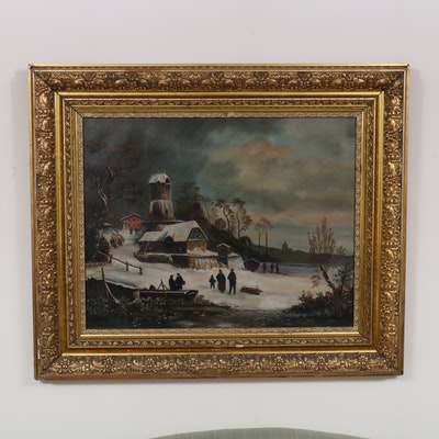 Genre Winter Landscape Oil Painting, Early to Mid 20th Century