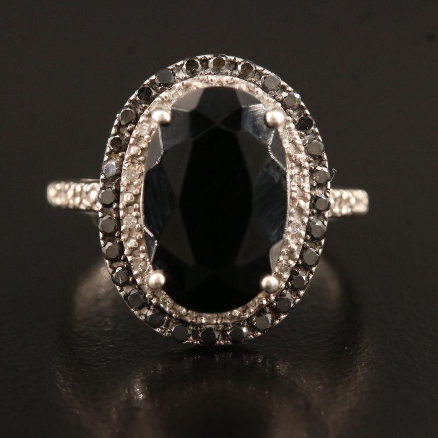 Sterling Silver Black Onyx and Diamond Ring Including Black Diamond Edges