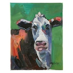 "Jose Trujillo Oil Painting ""Dairy Cow"", 2020"