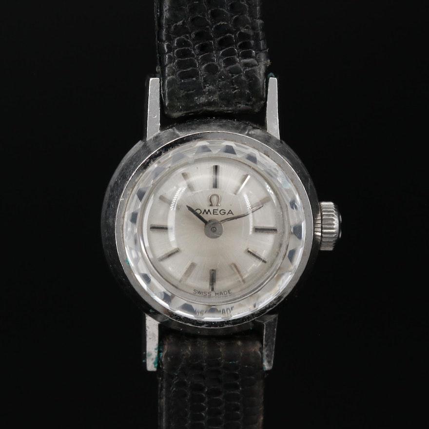 18K Omega Saphette Stem Wind Wristwatch, Circa 1965