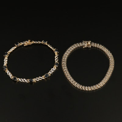 Sterling Silver Sapphire and Diamond Link Bracelets