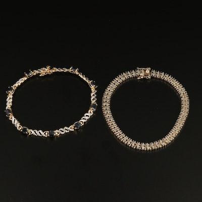 Sterling Silver Sapphire and Diamond Link Bracelets