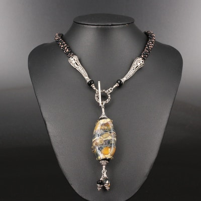 Sterling Silver Lampwork Glass Pendant on Beaded Necklace