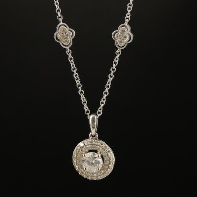 18K 1.05 CTW Diamond Double Halo Pendant and 14K Station Necklace