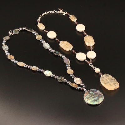 Beaded Gemstone Necklaces Featuring Abalone, Mother of Pearl and Quartz