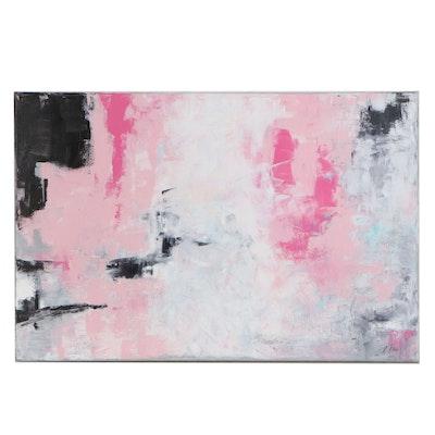 "Sanna Frank Abstract Acrylic Painting ""Spring Flowers,"" 2020"