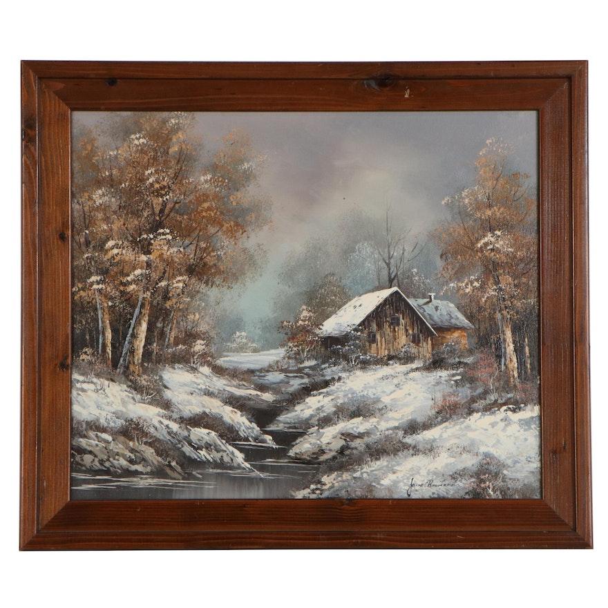 Rural Winter Landscape Oil Painting, 21st Century