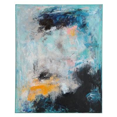"Sanna Frank Abstract Acrylic Painting ""Sea of Blue,"" 2020"