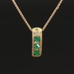 14K Emerald and Diamond Pendant Necklace