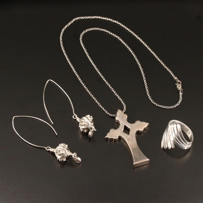 "Sterling Earrings, Bypass Ring and Mignon Faget ""Mater Cross"" Pendant Necklace"