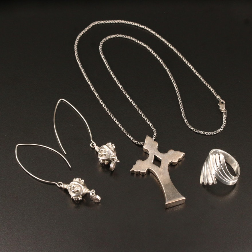 """Sterling Earrings, Bypass Ring and Mignon Faget """"Mater Cross"""" Pendant Necklace"""