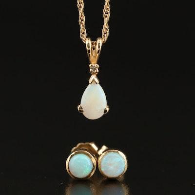 14K Opal and Diamond Pendant Necklace with Bezel Set Opal Stud Earrings