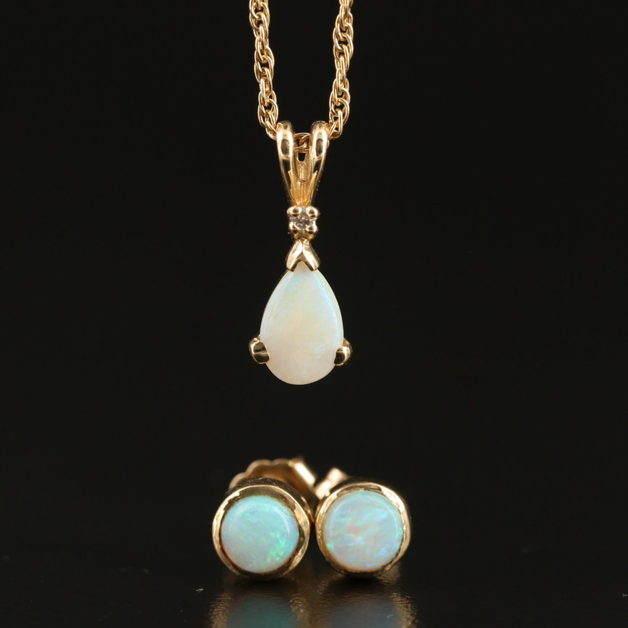 14K Opal and Diamond Pendant Necklace with Bezel Set Opal Stud Earrings