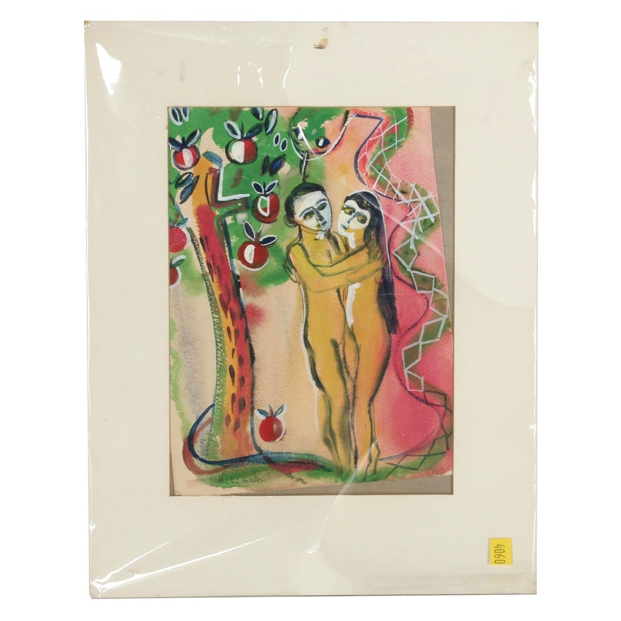 Helen Malta Abstract Watercolor Painting of Adam and Eve, Mid 20th Century