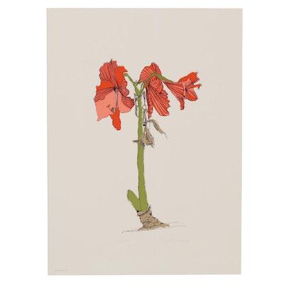 "Brett Harper Floral Still Life Serigraph ""Fireworks From the Earth,"" circa 1979"
