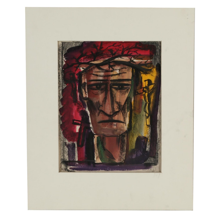 Helen Malta Abstract Portrait Watercolor Painting, Mid 20th Century