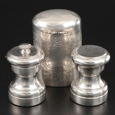 Tiffany & Co. Sterling Silver Salt and Pepper with Chased Metal Hinged Box