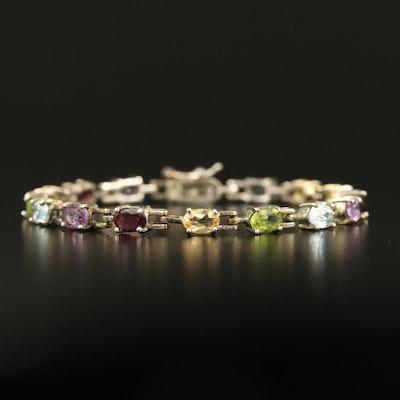 Sterling Garnet, Topaz and Peridot Bracelet