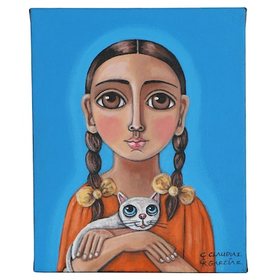 Claudia García Acrylic Painting of Girl with Kitten, 20th Century