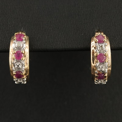 Sterling Ruby and Diamond Hoop Earrings