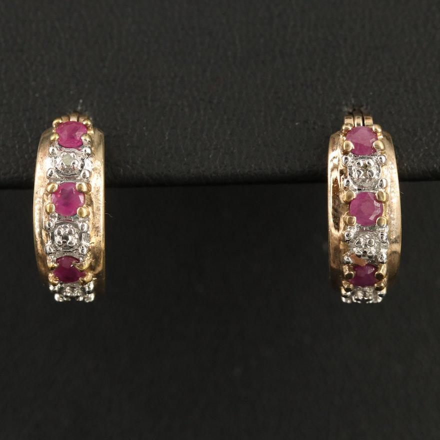 Sterling Ruby and Diamond Hoop Earrings