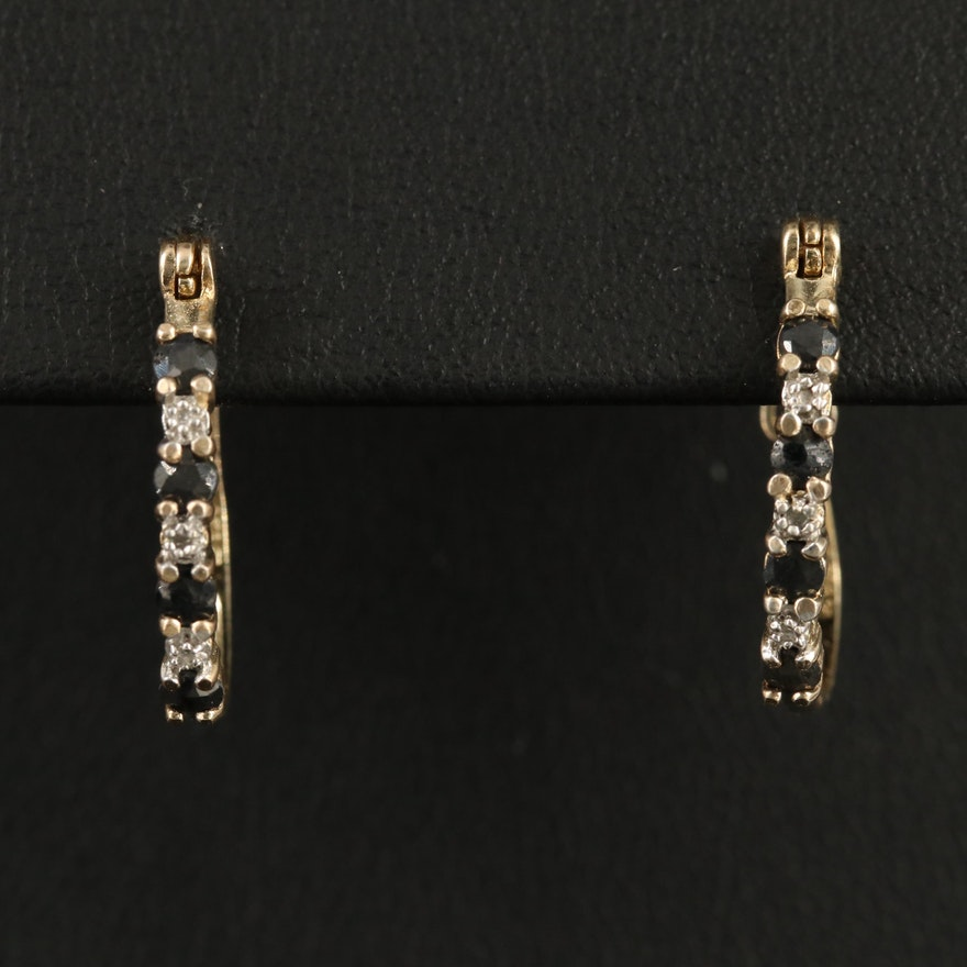 Sterling Sapphire and Diamond Hoop Earrings