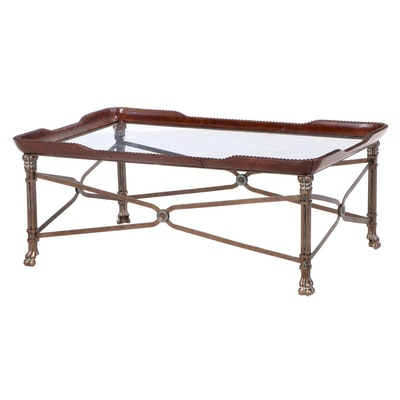 Neoclassical Style Bronze-Patinated Iron, Faux-Leather, & Glass Top Coffee Table