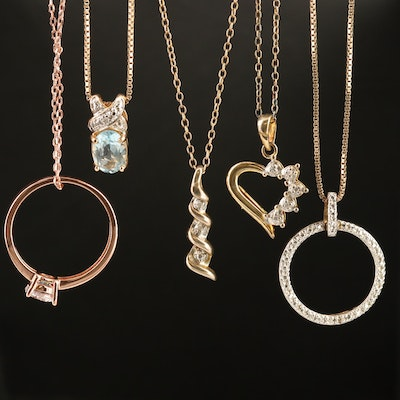 Sterling Silver Pendant Necklaces Featuring Topaz, Diamond and Cubic Zirconia