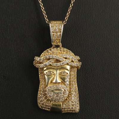 Sterling Silver Cubic Zirconia Pendant Necklace Featuring Jesus Head Design