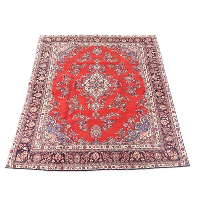 8'9 x 11'10 Hand-Knotted Persian Yazd Wool Rug