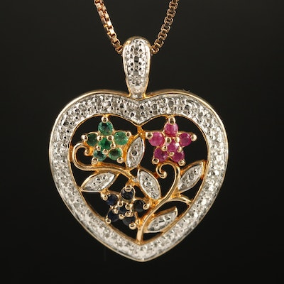 Sterling Silver Emerald, Sapphire, Ruby and Diamond Heart Pendant Necklace
