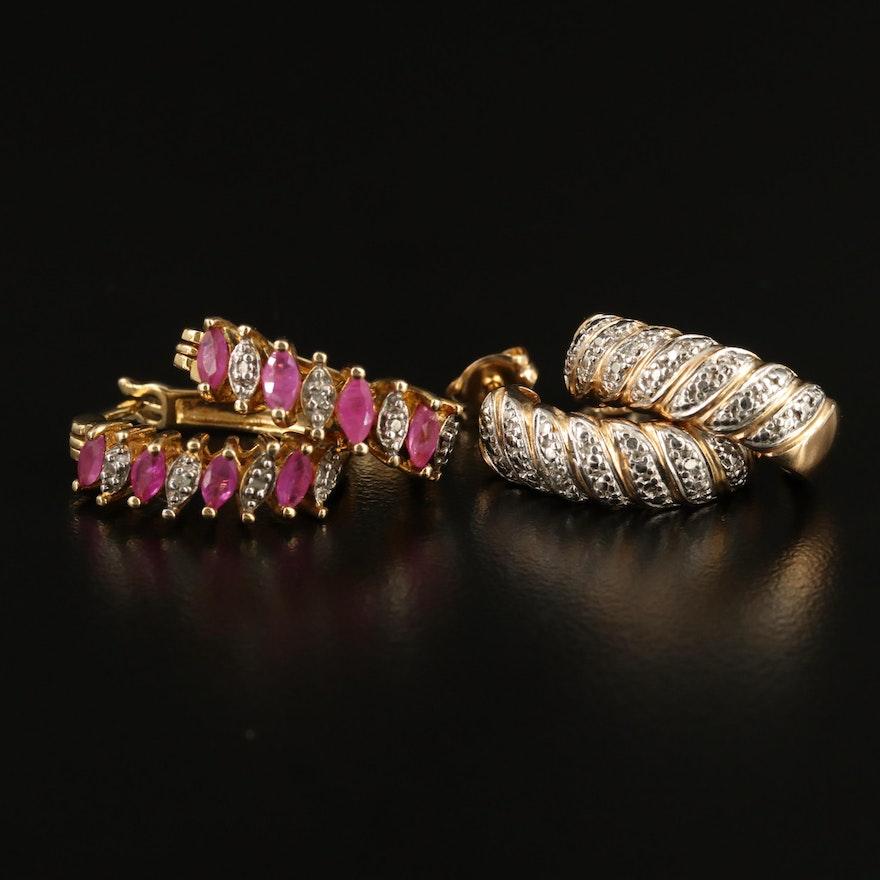 Sterling Ruby and Diamond J Hoop and Hoop Earrings