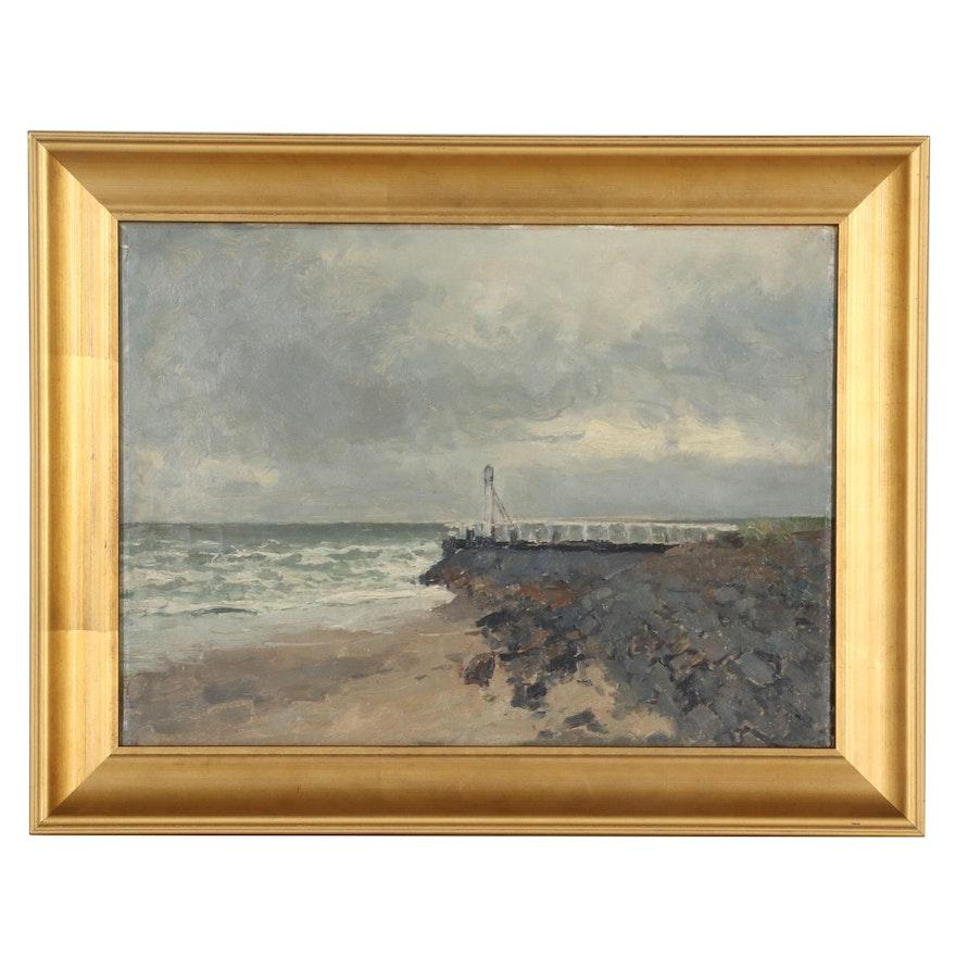 Coastal Seascape Oil Painting, 20th Century