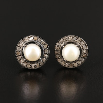 Sterling Silver Pearl and Diamond Earrings with Halos