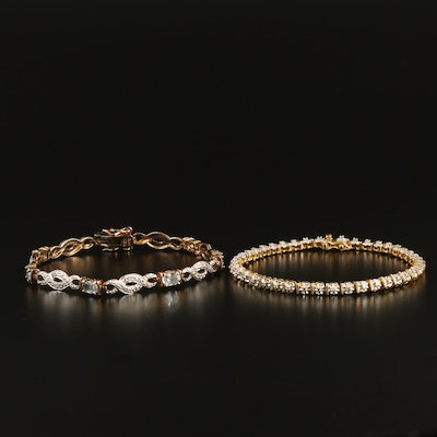 Sterling Silver Topaz and Diamond Link Bracelets