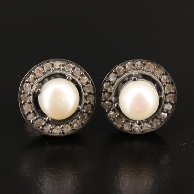 Sterling Pearl Earrings with Diamond Halos