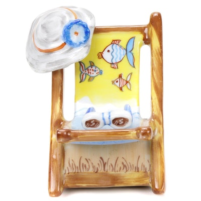 Rochard Hand-Painted Beach Chair Porcelain Limoges Box