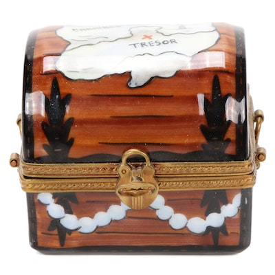 Parry Vieille Hand-Painted Pirate Treasure Chest Porcelain Limoges Box