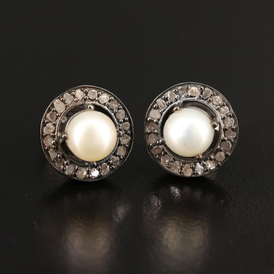 Sterling Silver Pearl and Diamond Halo Stud Earrings