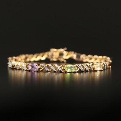 Sterling Peridot, Garnet and Amethyst Bracelet
