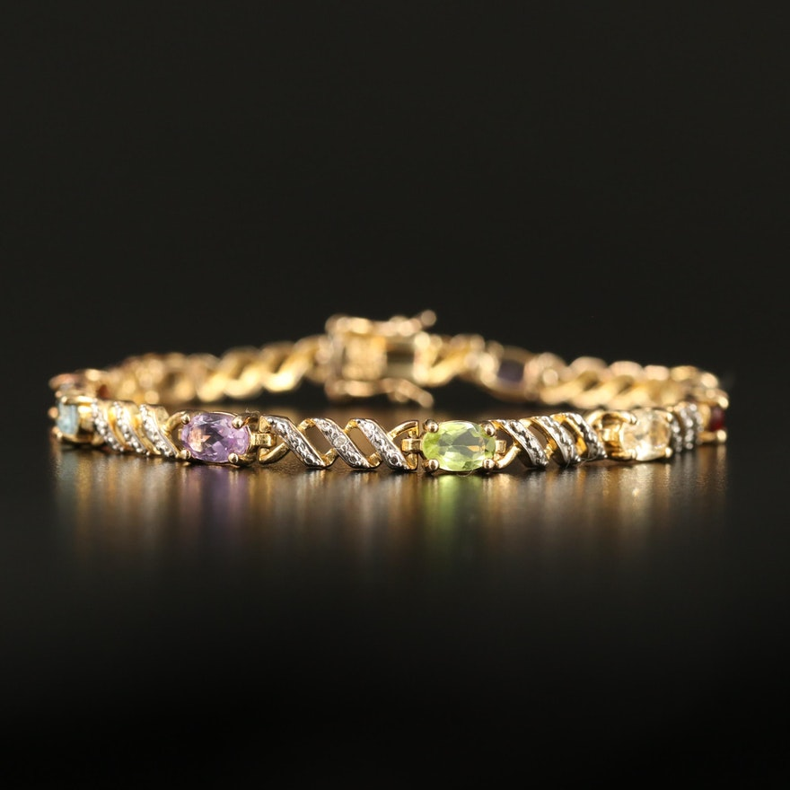 Sterling Peridot, Garnet and Amethyst Bracelet