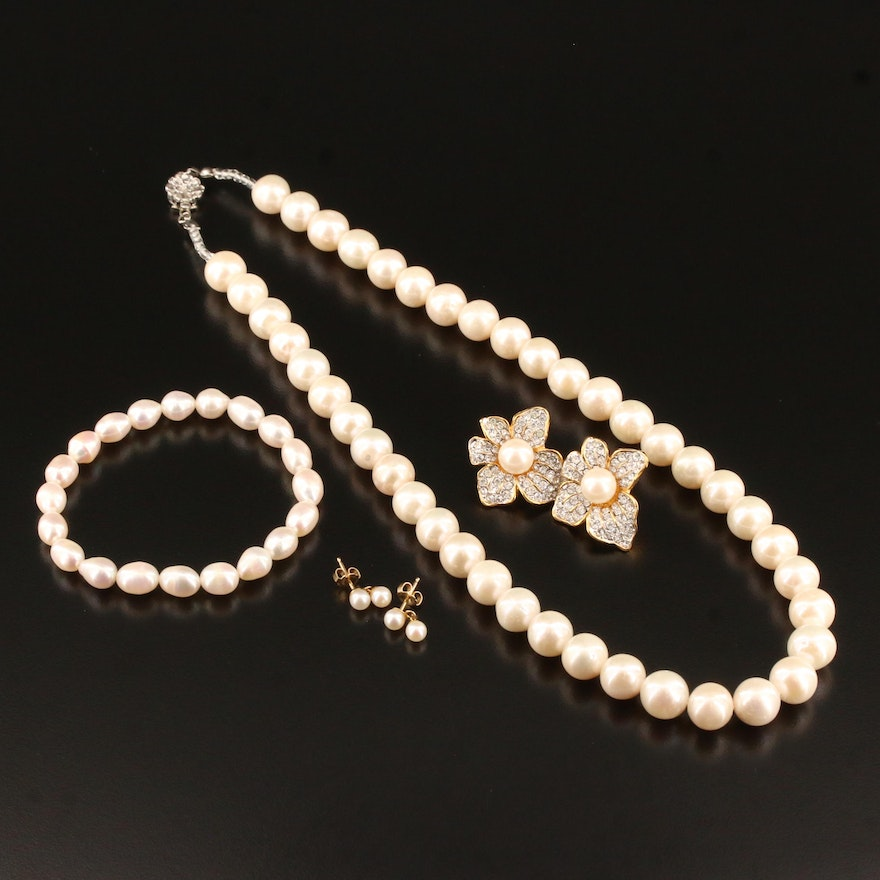 Jewelry Featuring Pearls and 14K Articulated Earrings