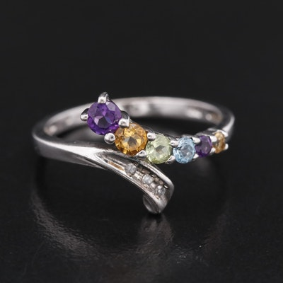 Sterling Silver Bypass Ring with Amethyst, Topaz, Citrine and Diamonds