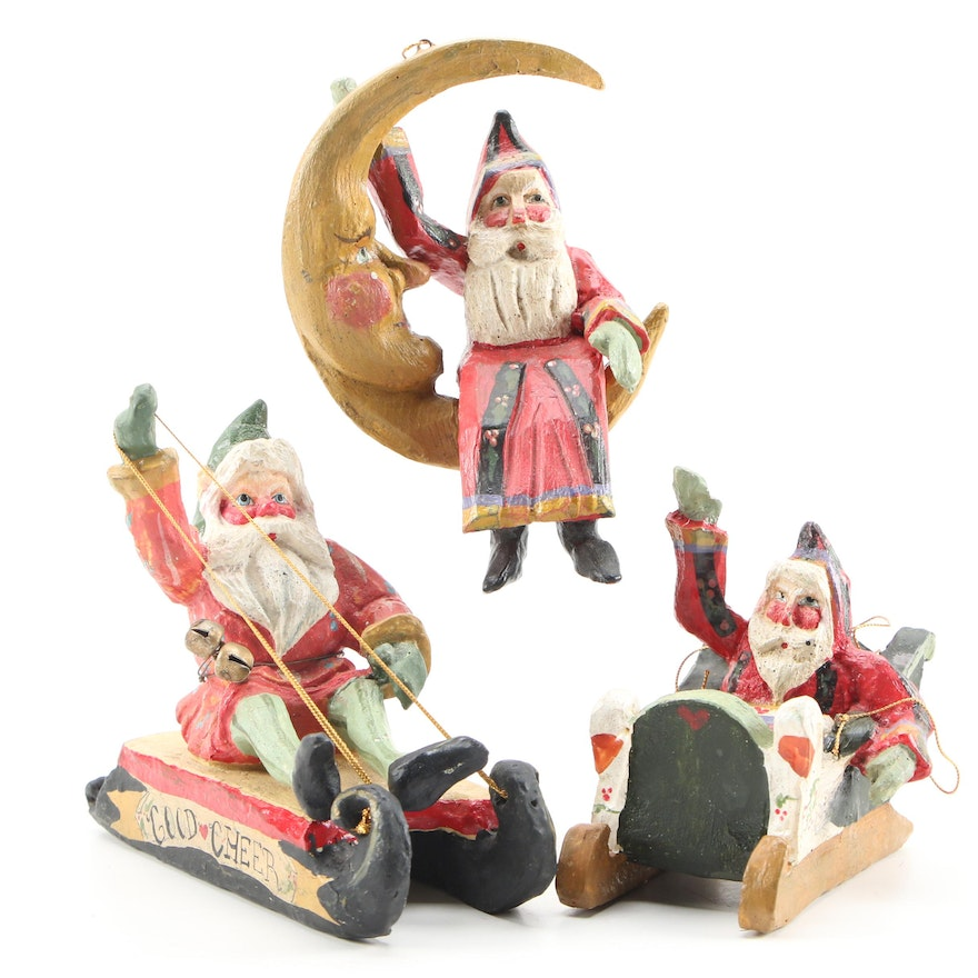 "House of Hatten Resin Christmas Tree ""Santa"" Ornaments, Late 20th Century"