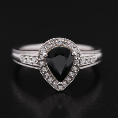 Sterling Silver Black Sapphire and Cubic Zirconia Ring