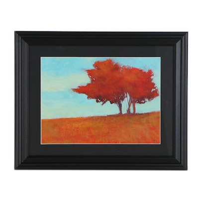 SJ Studio Landscape Oil Painting with Red Tree, 21st Century