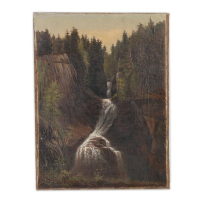 Landscape Oil Painting Featuring a Waterfall, 20th Century