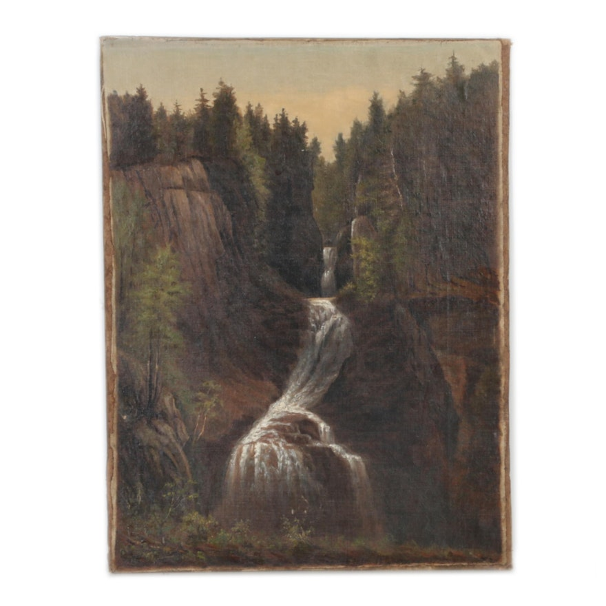 Hudson River School Oil Painting Featuring a Waterfall, Late 19th Century